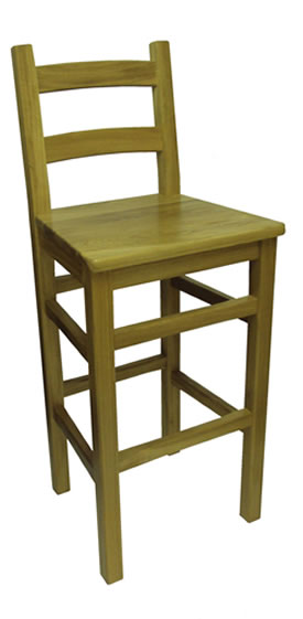 Crafty Solid Oak Frame Kitchen Breakfast Bar Stool with Back