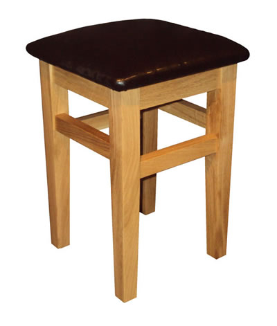 Crafty Oak Low Stool - Padded Faux Leather Seat Fully Assembled