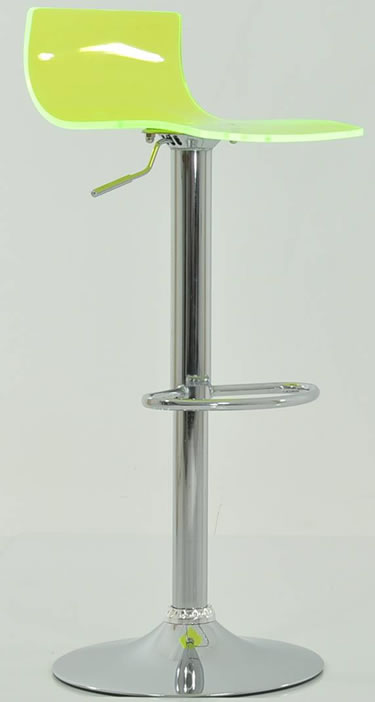 Marquis Lime Green Acrylic Perspex Seat Kitchen Bar Stool Height Adjustable Chrome Frame