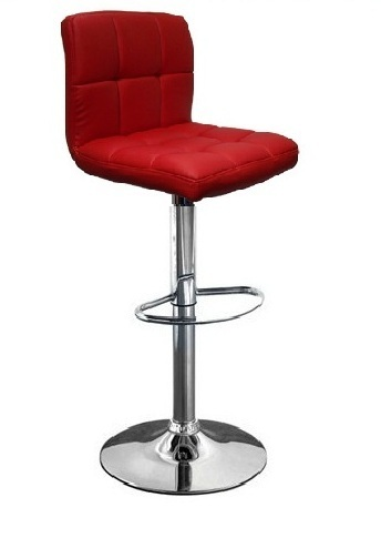 Castro Red Kitchen Bar Stool Height Adjustable Chrome Frame