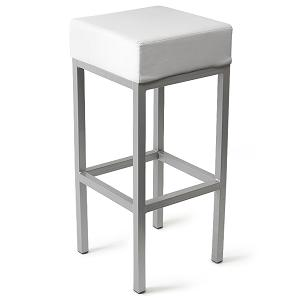 Square Cube Shape Kitchen Bar Stool White Padded Seat