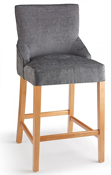 Naponese Oak Wood Stylish Kitchen Breakfast Bar Stool Grey Fabric Padded Seat Fully Assembled
