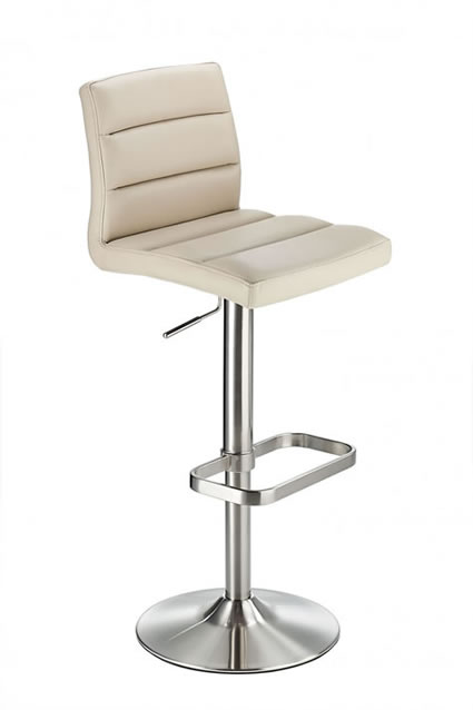 Swank Brushed Steel Kitchen Swivel Bar Stool With Faux Leather Padded Seat - Beige