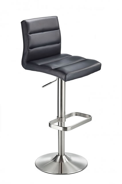 Swank Brushed Steel Kitchen Swivel Bar Stool With Faux Leather Padded Seat - Black