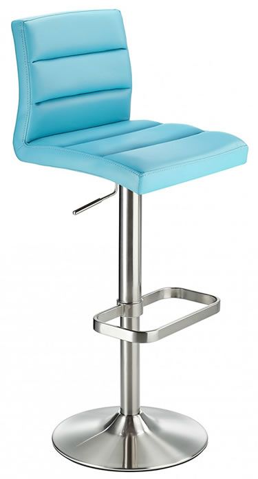 Swank Brushed Steel Kitchen Swivel Bar Stool With Faux Leather Padded Seat - Blue
