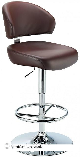 Monarch Bar Stool - Padded Faux Leather with Adjustable Swivel Seat - Brown