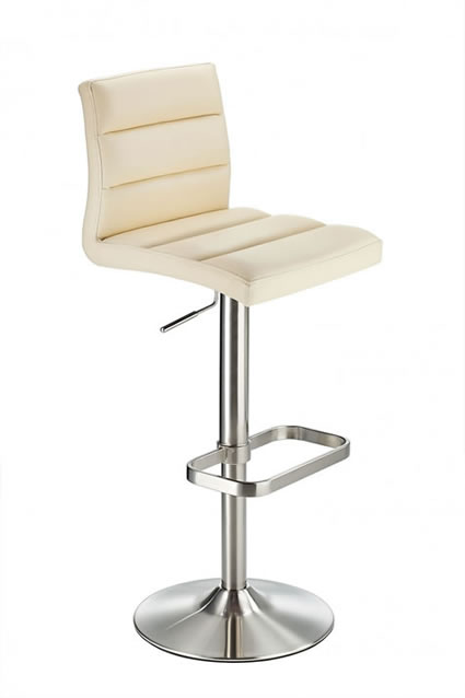 Swank Brushed Steel Kitchen Swivel Bar Stool With Faux Leather Padded Seat - Cream