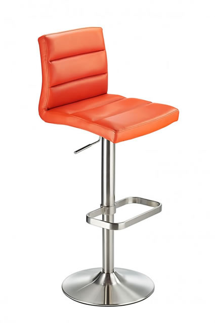 Swank Brushed Steel Kitchen Swivel Bar Stool With Faux Leather Padded Seat - Orange
