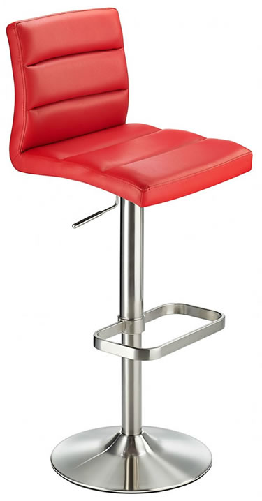 Swank Brushed Steel Kitchen Swivel Bar Stool With Faux Leather Padded Seat - Red