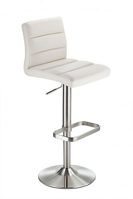Swank Brushed Steel Kitchen Swivel Bar Stool With Faux Leather Padded Seat - White