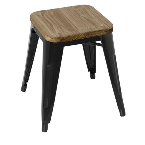 Pasog Black Steel Frame Bistro Low Stools Industrial Style with Wooden Seatpad Price is for 4 Stackable Fully Assembled