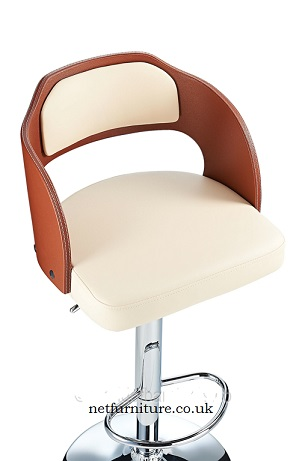Lynne Height Adjustable Bar Stool with padded seat and armrests