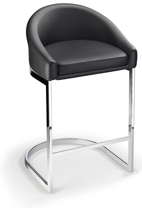 Katony Fixed Height Kitchen Breakfast Chrome Bar Stool Black Padded Seat with Back