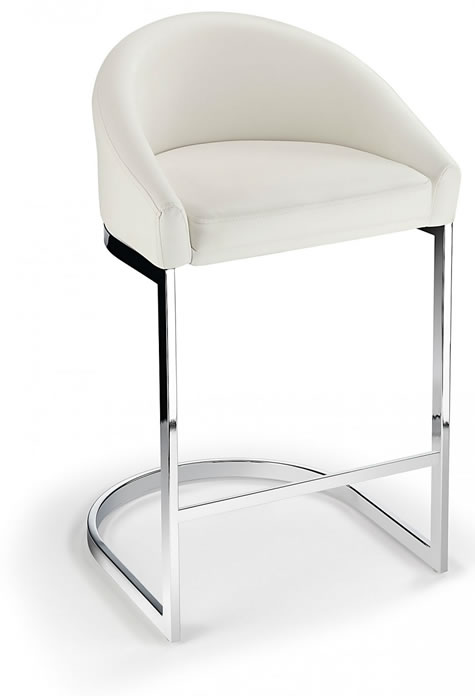 Katony Fixed Height Kitchen Breakfast Chrome Bar Stool White Padded Seat with Back