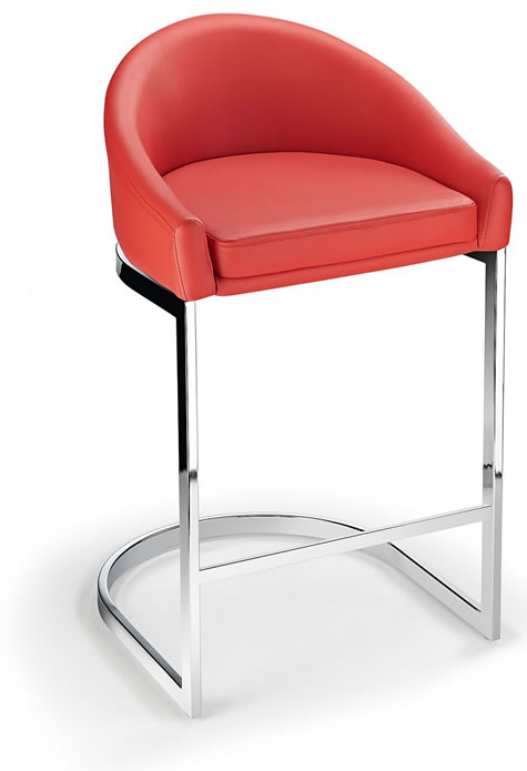 Katony Fixed Height Kitchen Breakfast Chrome Bar Stool Red Padded Seat with Back