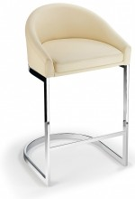 Katony Fixed Height Kitchen Breakfast Chrome Bar Stool Cream Padded Seat with Back