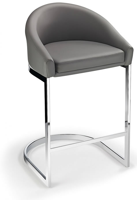 Katony Fixed Height Kitchen Breakfast Chrome Bar Stool Grey Padded Seat with Back