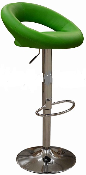 Star Kitchen Breakfast Bar Stool Padded Green Seat Height Adjustable Chrome Frame Back Rest
