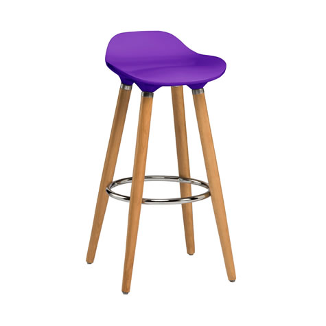 Blasene Purple Modern Kitchen Bar Stool Height Fixed Height Beech Legs