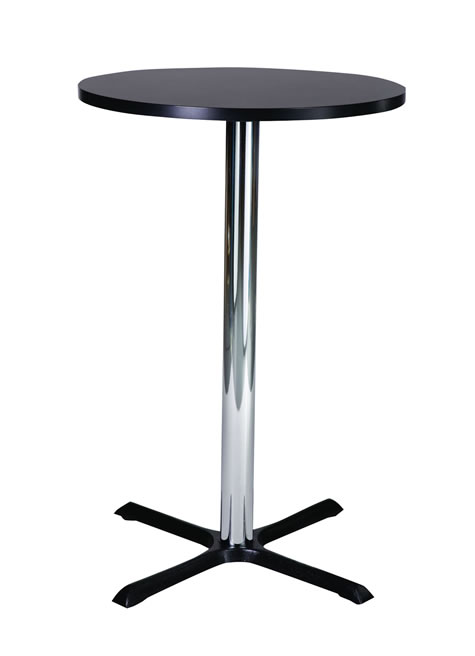 Elliot Tall Poseur Bar Table Cast Iron and Chrome Base Round Table Top - Made to Measure