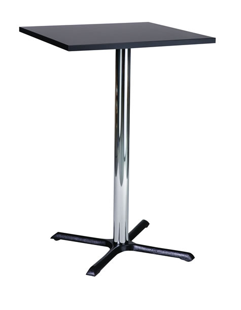 Elliot Tall Poseur Bar Table Cast Iron and Chrome Base Square Table Top - Made to Measure Table Height Option Available