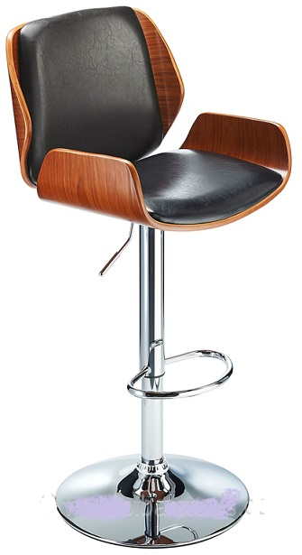 Chief Exec Adjustable Bar Stool, with Walnut Frame And Padded Seat