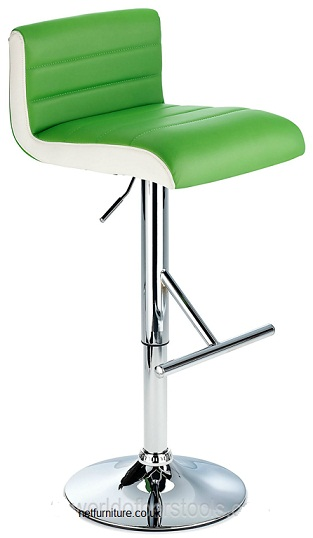 Terfa Breakfast Bar Stool - Green Seat and Contrasting Side Panels, Height Adjustable