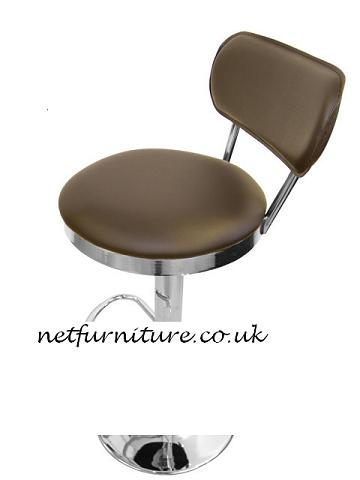 Asonu Retro Adjustable Breakfast Kitchen Stool Brown Padded Seat and Back