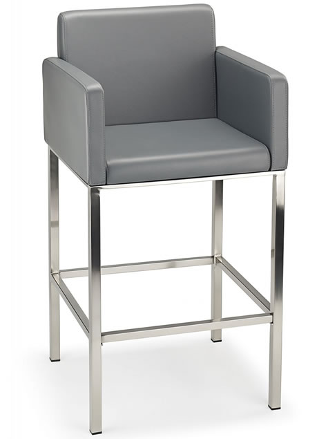 Hagone Brushed Steel Kitchen Breakfast Bar Stool With Arms Various Colours