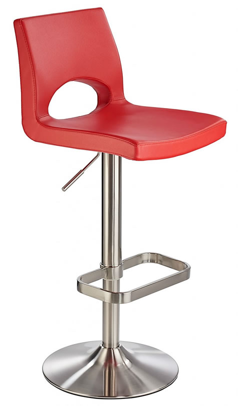 Ausoni Brushed Fixed Bar Stool with Padded Seat and Unique Footrest - White