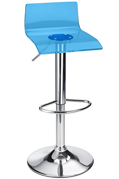 Langsley Funky Acrylic Adjustable Bar Stool - Blue