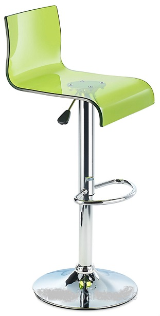 Snazzy Acrylic Adjustable Bar Stool with Swivel Seat - Green