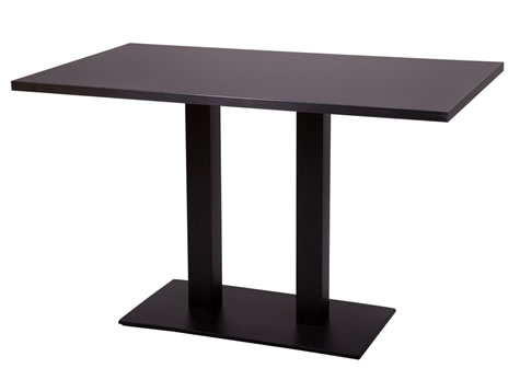 Gorzan Tall Poseur Twin Base Large Table Black Cast Iron Base Round Slimline Flat Base Rectangular Table Top - Variety of Sizes and Colours