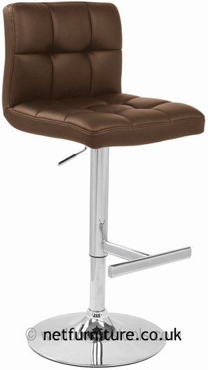 Grand Brown Padded Seat And Back Kitchen Bar Stool Height Adjustable Chrome Frame
