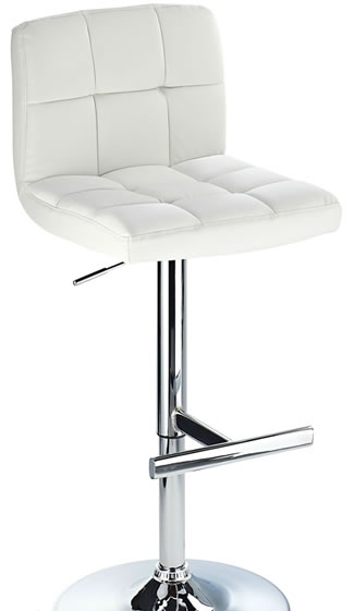 Grand White Padded Seat Kitchen Bar Stool Height Adjustable Chrome Frame