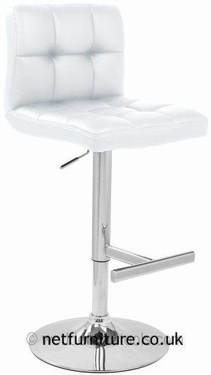 Grand Bar Stool with Padded Stylish Seat Height Adjustable - White