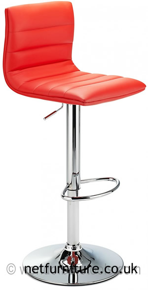 Horizon Padded Bar Stool Height Adjustable - Red