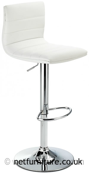 Horizon Padded Bar Stool Height Adjustable - White Padded Seat and Back