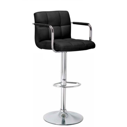 Heaven Black Kitchen Bar Stool With Arms Height Adjustable