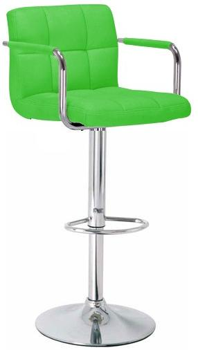 Havenly Kitchen Breakfast Bar Stool With Arms Green Padded Seat