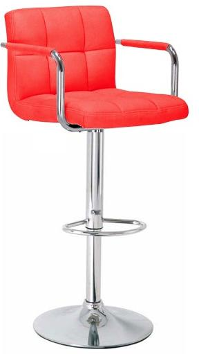 Havenly Kitchen Breakfast Bar Stool With Arms Red Padded Seat