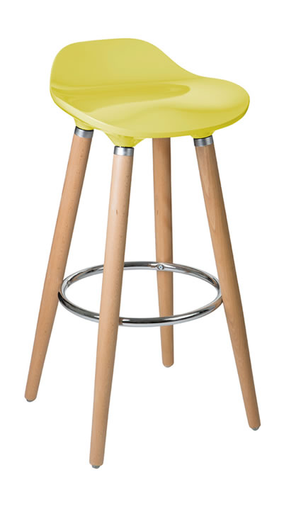 Blasene Mustard Colour Modern Kitchen Bar Stool Height Fixed Height Beech Legs