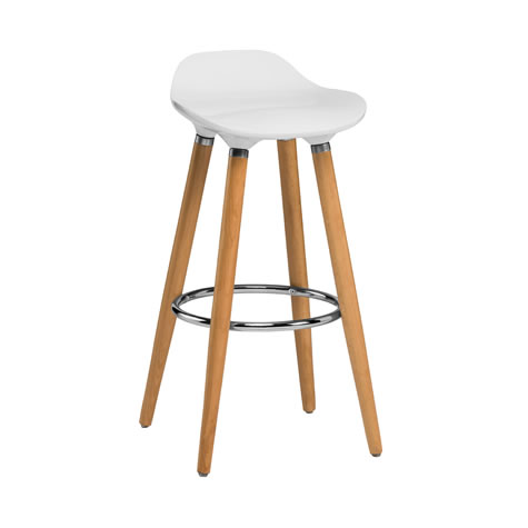 Blasene White Modern Kitchen Bar Stool Height Fixed Height Beech Legs