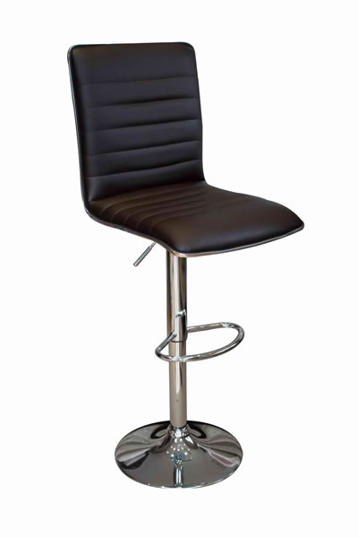 Top Line Bar Stool Black Padded Seat and Back Height Adjustable