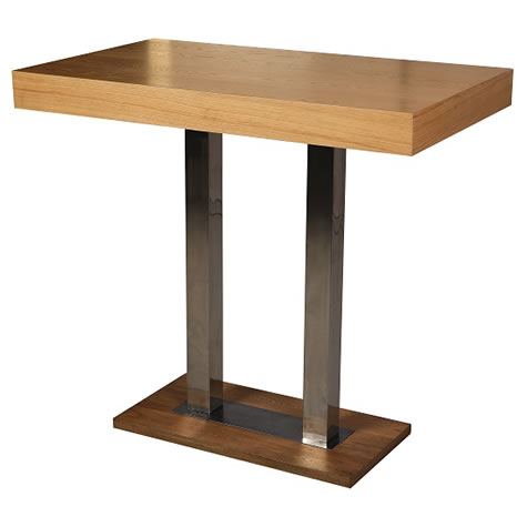 Caykone Tall Bar Poseur Kitchen Table Rectangular With Oak or Wenge Top Stainless Steel Frame
