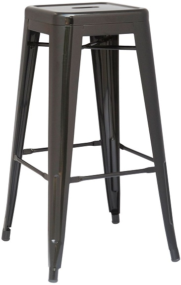 Hasonay Kitchen Bar Stool Black Metal Frame Fixed Height Retro Industrial Style Fully Assembled