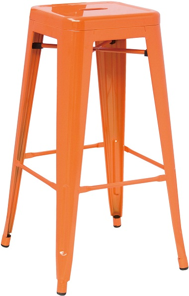 Metal Bar Stool - Orange