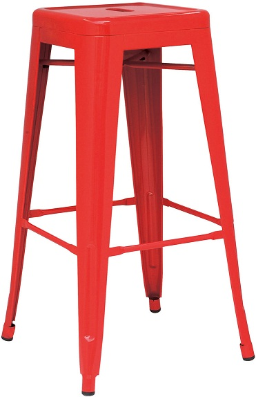 Hasonay Kitchen Bar Stool Red Metal Frame Fixed Height Retro Industrial Style