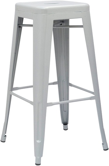 Hasonay Kitchen Bar Stool Silver Metal Frame Fixed Height Retro Industrial Style