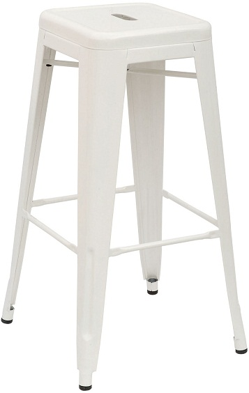 Metal Bar Stool - White